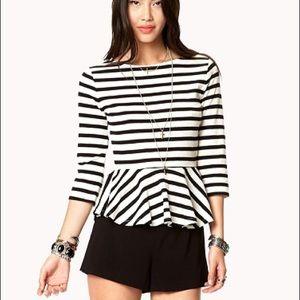 Forever 21 Black & Cream Striped Peplum Top